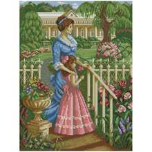 Mother and daughter in the garden counted cross stitch 11ct