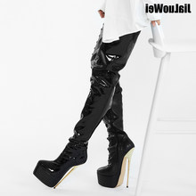 Thigh High Platform Boots Women 22cm Extreme High Heel Gold Metal Heel Sexy Fetish Stiletto Over The Knee Party Boots(China)
