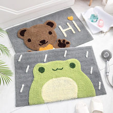 Home Entrance Door Mat Cartoon Microfiber Bath Mat Cat Frog Non Slip Floor Mat Kitchen Bathroom Indoor Doormat Shower Rug Mat gm pb026 g