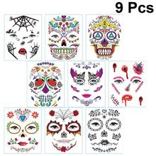 9 Sheets Face Sticker Facial Makeup Mask Mexico Day Of The Dead Skull Waterproof Face Sticker Tattoos Decal For Adults Halloween