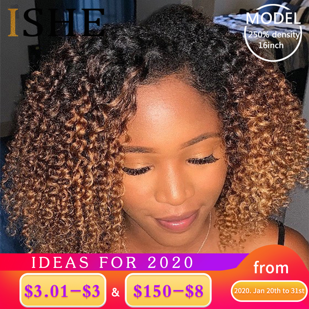 Afro Kinky Curly Ombre Blonde 13x6 Lace Front Human Hair Wigs Pre Plucked Lace Frontal Wig For Women Remy Black Hair 150 Density
