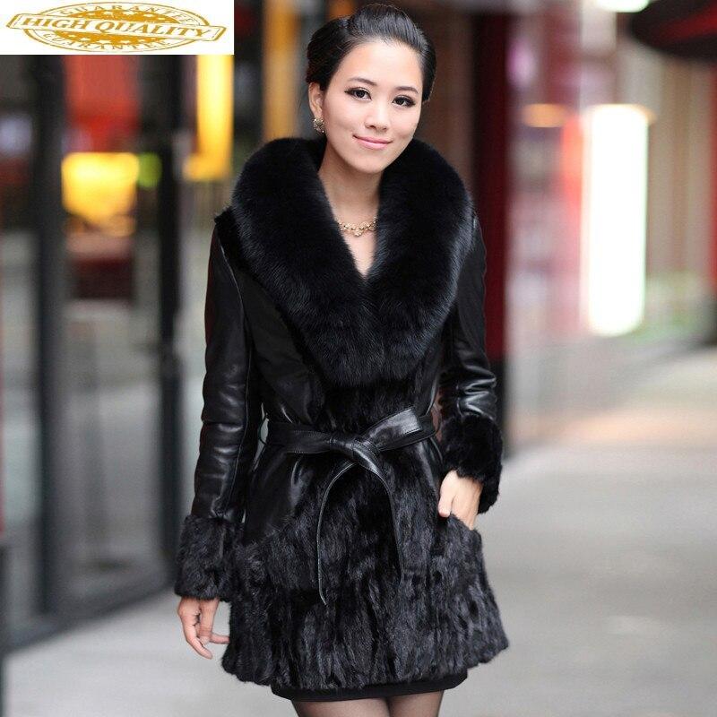 Real Mink Fur Coat Female Genuine Leather Jacket Winter Jacket Women Fox Fur Collar 100% Real Sheepskin Long Coat MY3772