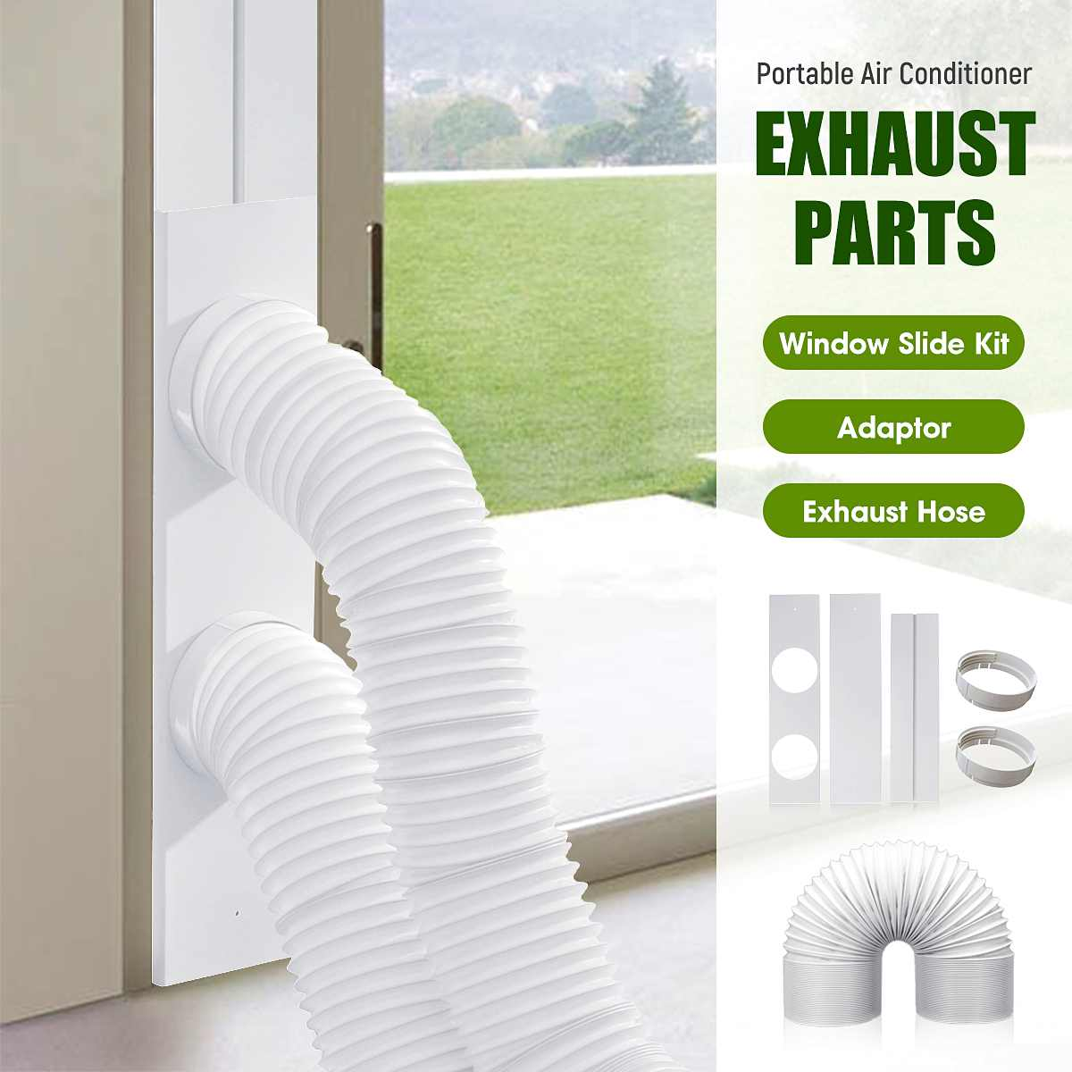 diy exhaust hose 2 3pcs window slide kit plate adaptor pvc pipe portable air conditioner accessories home mounting accessories