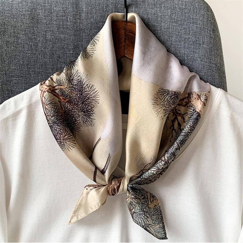 Brand Designer 53cmx53cm Silk Scarf Women Small Square Neckerchief Hair Band Accessories2020 Spring New Fashion Foulard Bandana