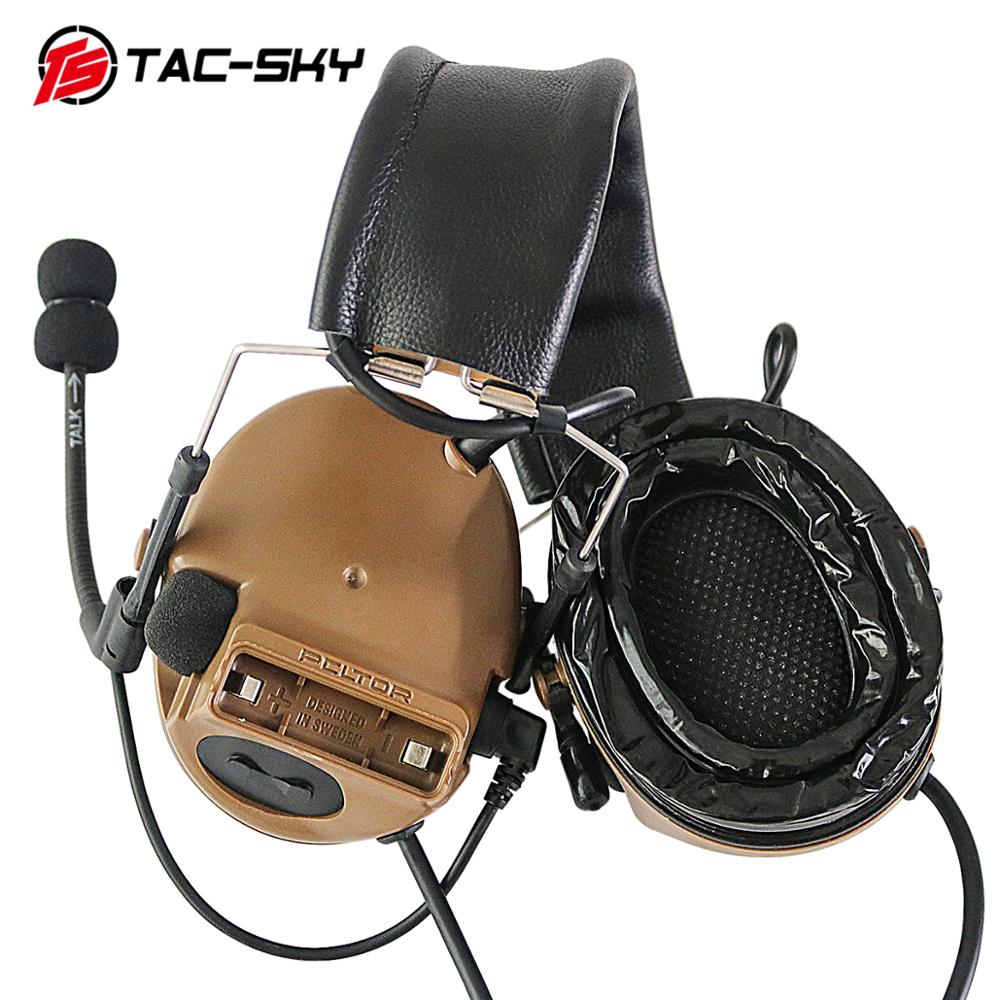 TAC-SKY Military Hearing Defense Noise Reduction Pickup Tactical Headset COMTAC III Silicone Earmuffs Dual-pass Version CB