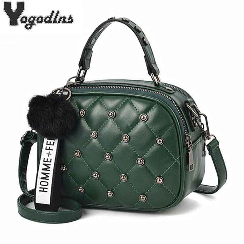 Trendy Rivet Plaid Bag For Women Brand Design Small Crossbody Bags With Hairy Ball Girls Mini PU Leather Handbags Phone Purse