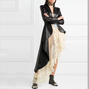 Image 2 - DEAT Autumn And Winter Fashion Clothes Women Turn down Collar Full Sleeve PU Leather Asymmetrical Windbreaker Trench WJ15101L