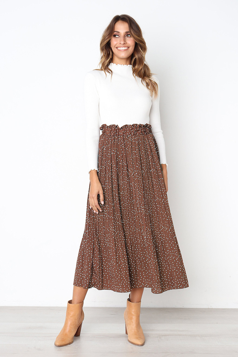 H06e2d806be6d47609b540cd8fa3a1f52F - Summer Casual Chiffon Print Pockets High Waist Pleated Maxi Skirt Womens Long Skirts For Women