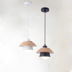 Image 5 - Nordic Decor Pendant Lights Suspension Luminaire, E27 Aluminum Wood Pendant Lamp Modern Light Fixtures Black White