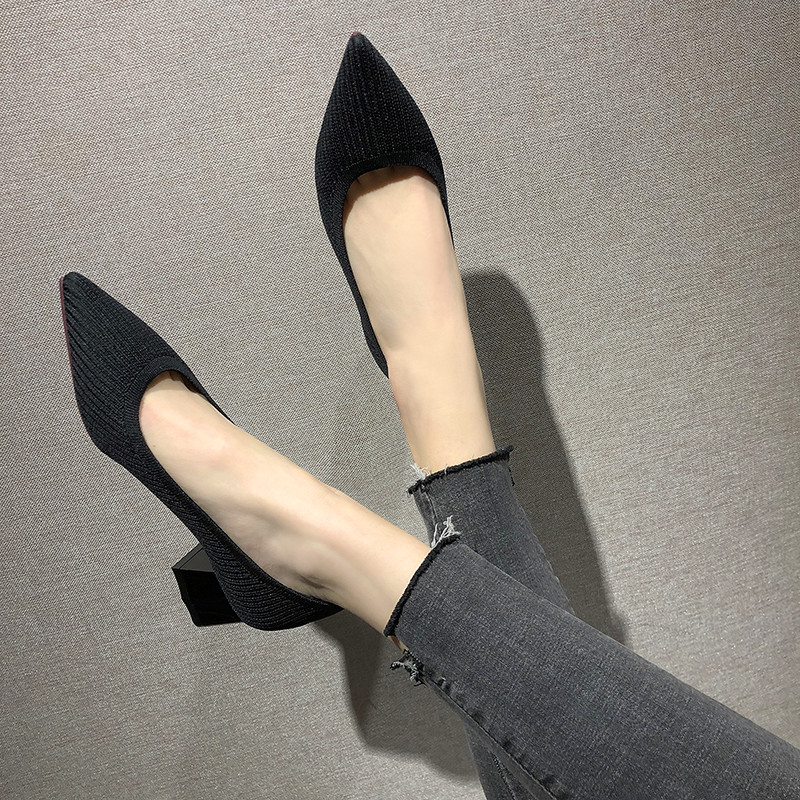 Temperament Ladies Party Banquet Women's High Heels Sweet Style Thick Heel Shoes Pointed Elegant Shallow Mouth Women's Shoes
