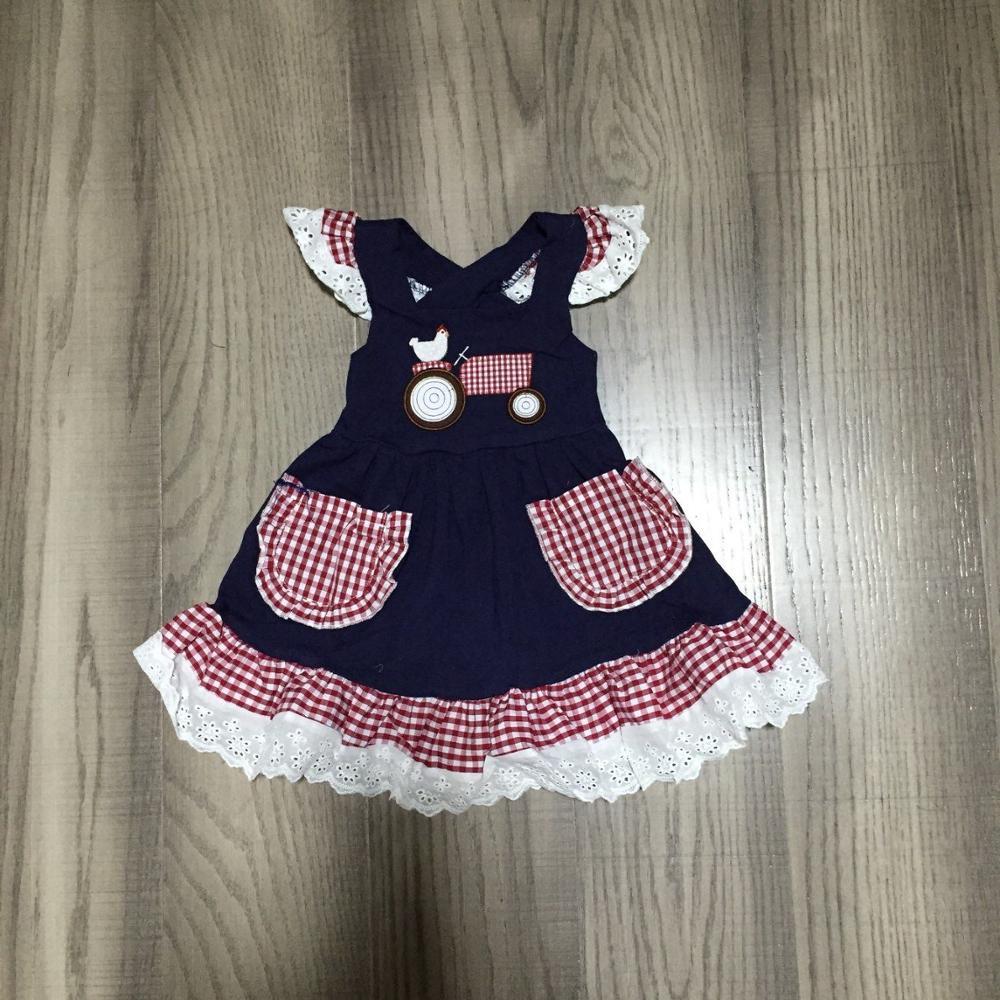 Baby Girls Summer Dress Girls Farm Dress With Chook Print Girls Dark Blue Dress Lace Hem