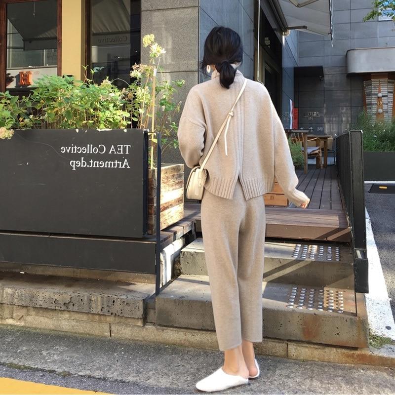 Image 5 - Outono inverno malha agasalho gola alta sweatshirts para as  mulheres terno roupas 2 peça conjunto de malha topo calça feminina  ternoConjuntos femininos
