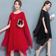 Spring and summer new style Fashion irregular stitching loose dress Temperament solid color chiffon