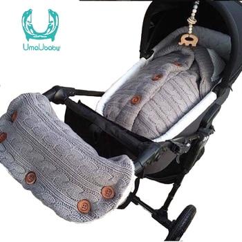 Uamubaby Knitted Button Velvet Sleeping Bag + Stroller Gloves Baby Outdoor Paddednewborn  Warm