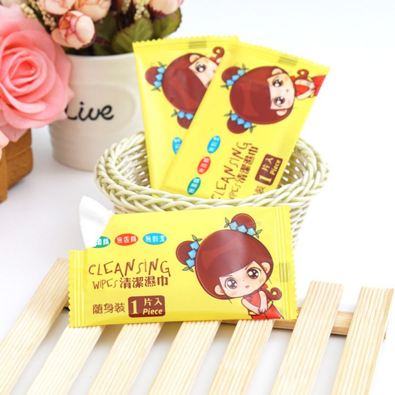 50Pcs/Set No Ethanol And No Fuorescence Portable Single Piece Mini Wipes Disinfectant Wipes For Child And Adult Cute