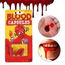 Halloween cosplay vampiro artificial falso plasma de sangue comestível adereços super real vomitando celulose comestível fontes de festa de halloween