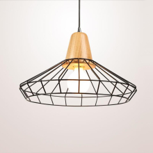 Kluzzi American Birdcage Light Cheap Black For Hotel Shop Metal Hanging Art Deco Modern Pendant Light Wood Fixtures Industrial