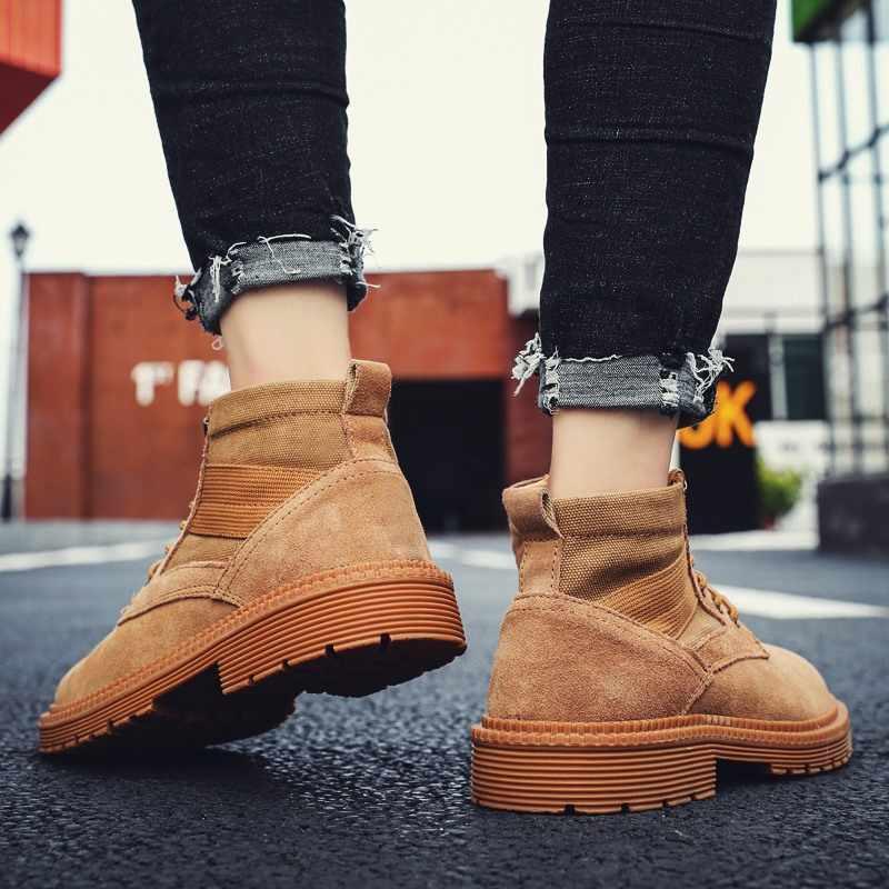 2019 Winter Schoenen Mannen Militaire Laarzen Hoge Kwaliteit Stevige Canvas Enkellaarsjes Lace-Up Mannen Sneakers Outdoor Werk Schoeisel
