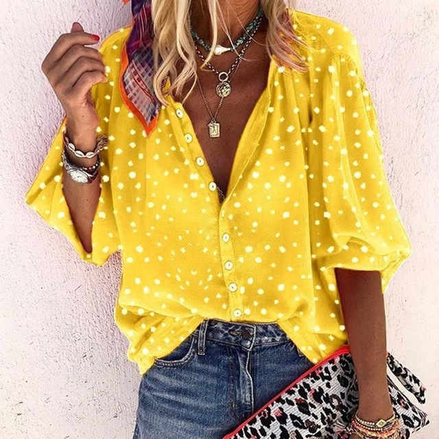 Taniafa Fashion Women Casual Loose Print Long Sleeve Shirts Casual V Neck Polka Dot Tops Blouse Plus Size 3