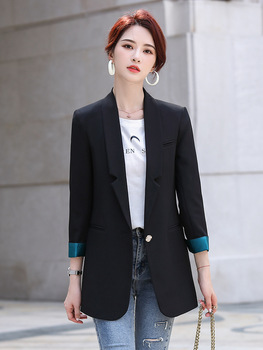 Black suit jacket women spring and autumn 2020 new long-sleeved jacket Korean style fashion temperament casual brieuces spring and summer women s beaded small suit slim suit jacket short women s shirt fashion long sleeved jacket