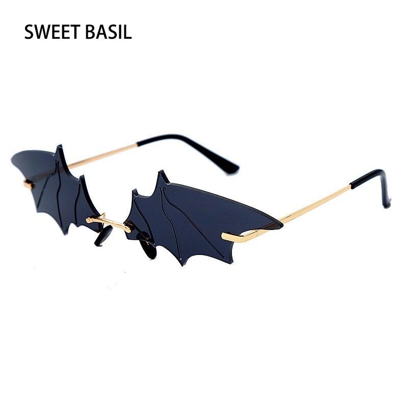 SWEET BASIL New Fashion Bat Vintage Sunglasses Women Mirror Retro Rimless Sun Glasses Men Frameless Trend Fashion Small Eyewear