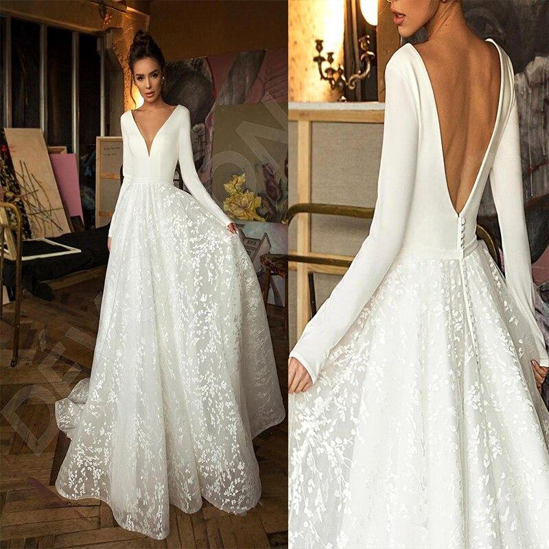 In Stock Vintage Long Sleeve Lace Satin Wedding Dresses Deep V Neck Backless Bride Dress Wedding Robe De Mariee Bridal Dress Aliexpress