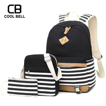 Women School Backpack Bags For Teenager Girls Canvas Waterproof Travel 3PCS/SET Purses And Shoulder Bag Student Bookbag