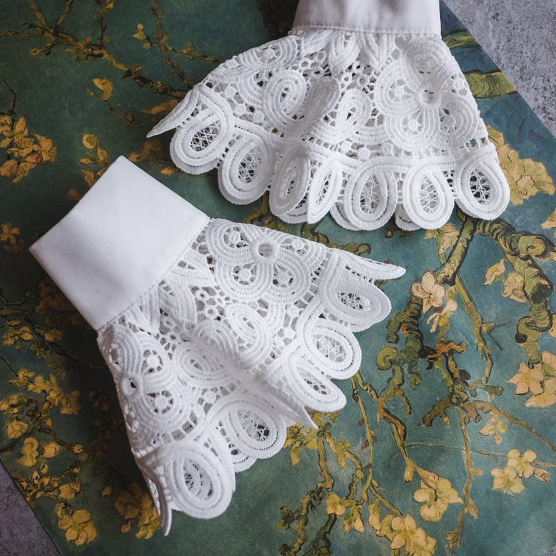 Women White Cotton Lace Cuff