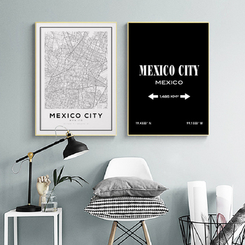 Mexico City Map Prints Art Canvas Painting Travel Black and White Latitude Longitude Posters Wall Art Pictures Home Wall Decor image