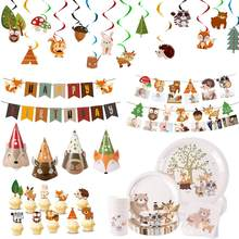 Huiran Woodland Wegwerp Servies Gelukkige Verjaardag Party Decor Kids Jungle Dier Borden Cups Safari Woodland Feestartikelen(China)