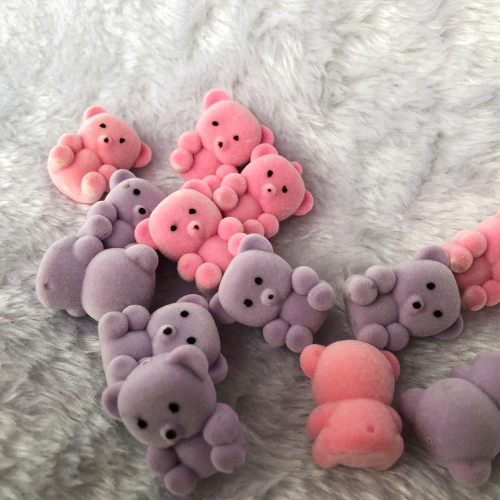 Package of 24 Flocked Mini Bears Pendants Keychains Kids Toy Tiny Bears Doll Pendants for DIY Necklace Earring Jewelry Supplies