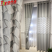 Luxury Grey Embroidered Leaves Curtain for Living Room Semi-Blackout Gray Hollow Window Drapes for Bedroom X-HM635*VT