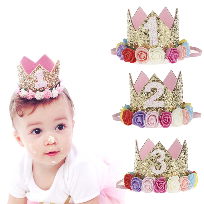 CYUAN decoraciones para fiesta de cumpleaños niños bebé 1 2 3 años de edad globos de cumpleaños Baby Shower niño niña 1er corona de fiesta de cumpleaños sombrero