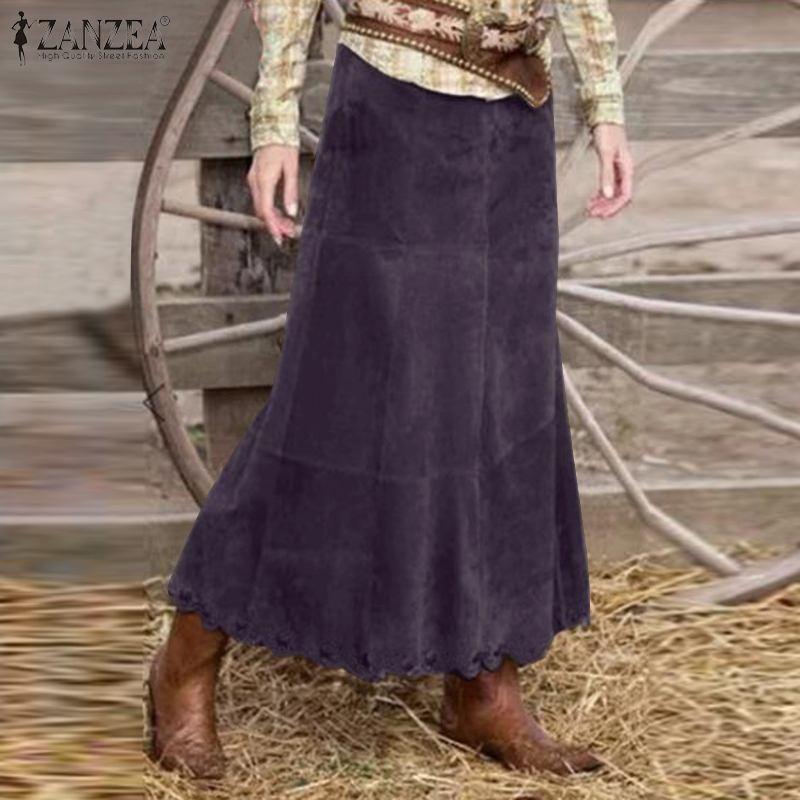 Camicie eleganti in velluto a coste vestito estivo autunnale da donna ZANZEA 2021 Casual vita alta Maxi abiti donna Solid Faldas Saia 5XL