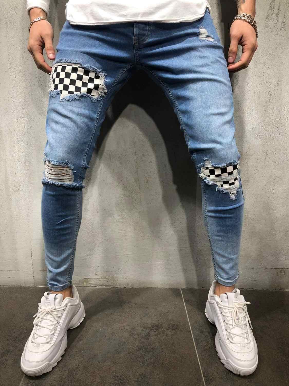 2019 Uomini Alla Moda Jeans Strappati, Pantaloni Biker Skinny Slim Etero Sfilacciati Denim Dei Pantaloni Nuovo Modo di Skinny Jeans Degli Uomini Vestiti