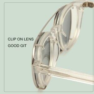 Image 5 - גבוהה באיכות קריסטל ברור מסגרת משקפיים גברים עגול שקוף אצטט משקפי שמש מקוטב קליפ על שמש משקפיים ג וני דפ