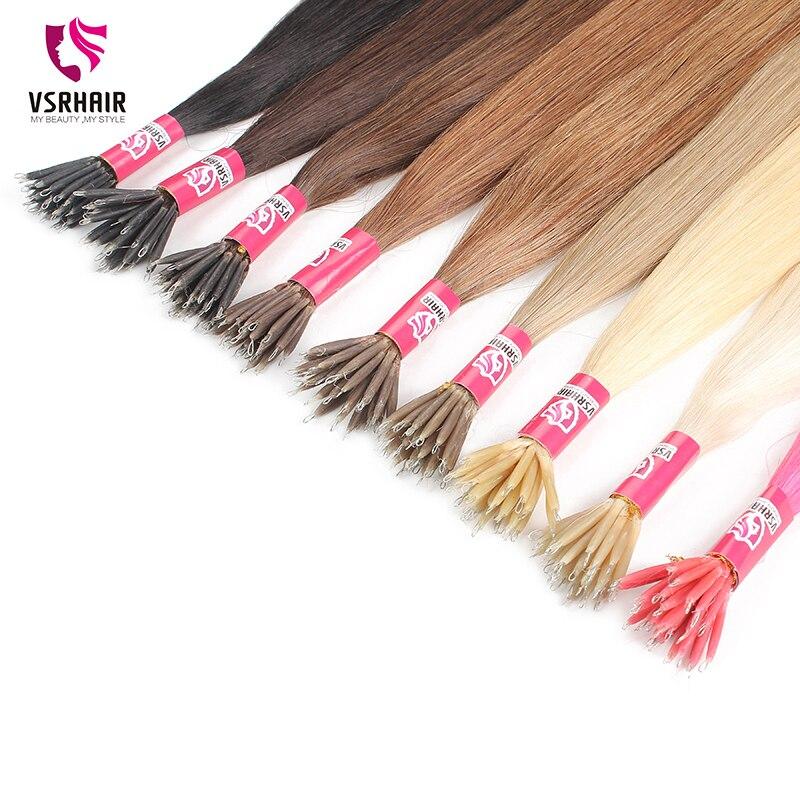 Vsr nano ponta colorida cabelo 1g 0.8g fusão queratina 40-55cm máquina remy extensões do cabelo humano 50 fios micro grânulos para salão de beleza