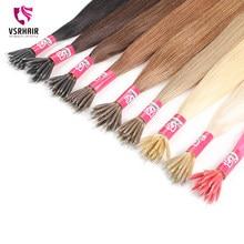 VSR Nano pointe cheveux colorés 1g 0.8g Fusion kératine 40-55cm Machine Remy Extensions de cheveux humains 50 brins Micro perles pour Salon