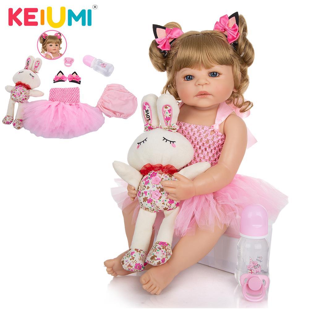 """KEIUMI 22 """"or cheveux renaître bébé Menina Boneca réaliste corps complet Silicone bébé poupée Collection cadeau pour enfant anniversaire Surprise"""