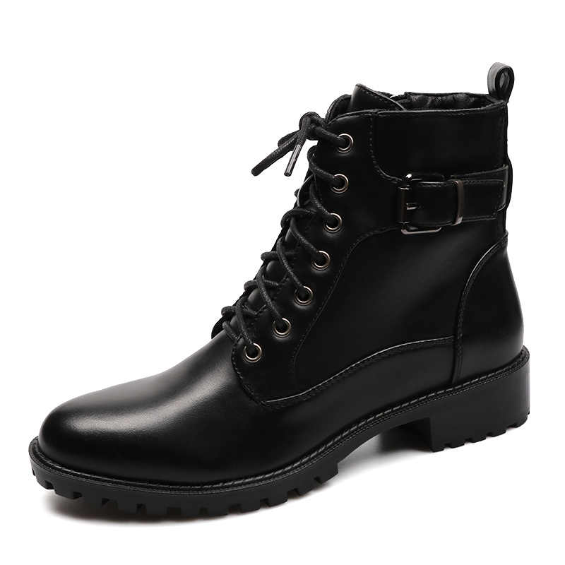 Yeni stil siyah yarım çizmeler Flats yuvarlak ayak siyah Zip çizmeler PU deri kadın ayakkabı sıcak peluş avrupa moda patik