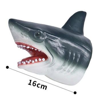 Zabawka rekin dinozaur pacynka rękawica miękka gumowa zabawka model gigantyczny ząbkowany rekin lalka ocean Boy prezent tanie i dobre opinie JL FASHION Z tworzywa sztucznego 3 lat YLB-09 Unisex