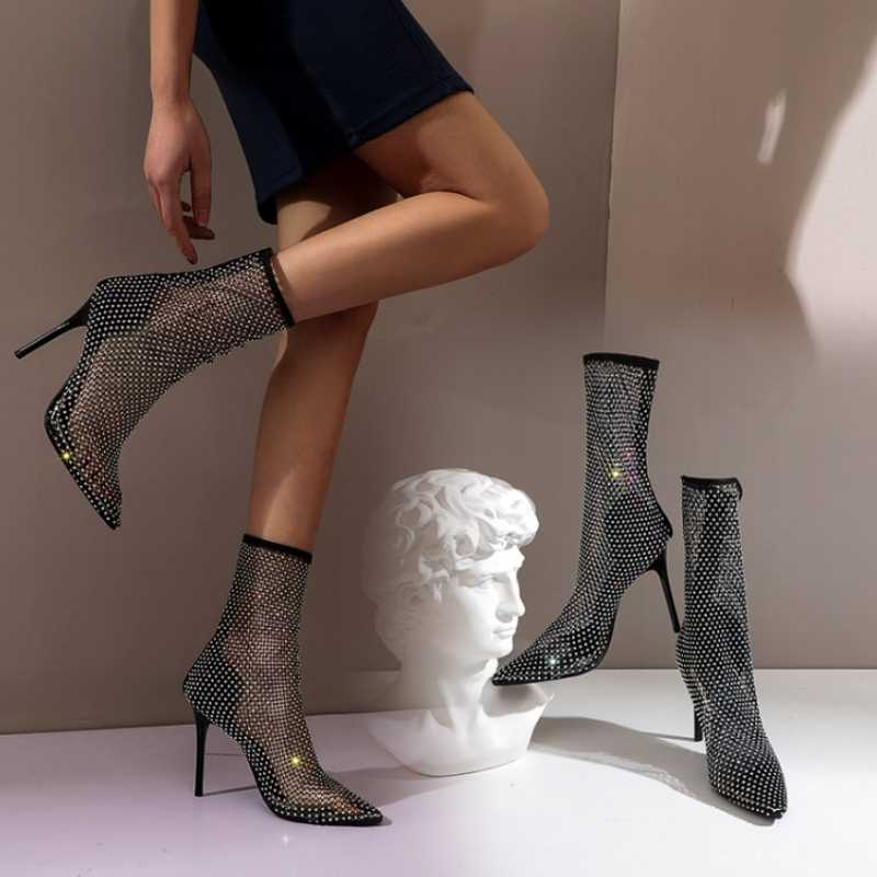 Kemekiss Plus Size 34-46 Vrouwen Sandalen Schoenen Mode Kristallen Zomer Wees Teen Sexy Dunne Hoge Hakken Effen Kleur schoenen Vrouwen