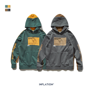 Image 5 - INFLATION 2020 Men Hoodies Dropped Shoulders Hoodie With Printed logo And Contrast Color Men Hoodies Street Wear  9611W