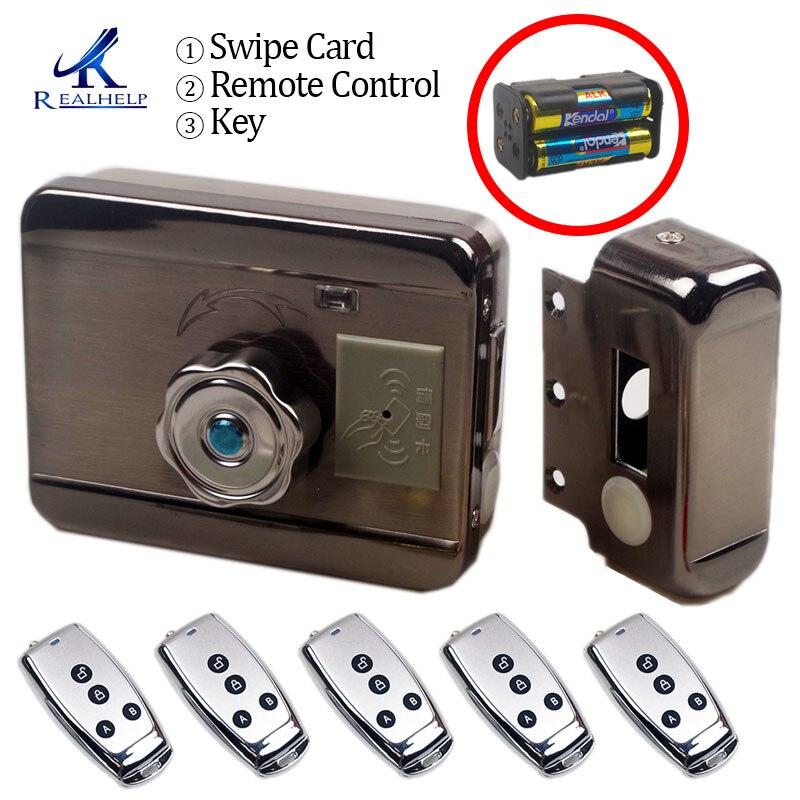 Nenhuma Fiação Elétrica aro fechadura para Porta De Metal Portão Elétrico Abridor de Bloqueio Da Porta 125KHZ RFID Cartão de Bloqueio Bloqueio Keyless versão elétrica