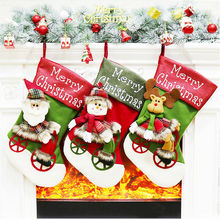 Christmas Socks Stocking Gift Bag Wine Bottle Covers Cover Xmas Tree Hanging Decoration