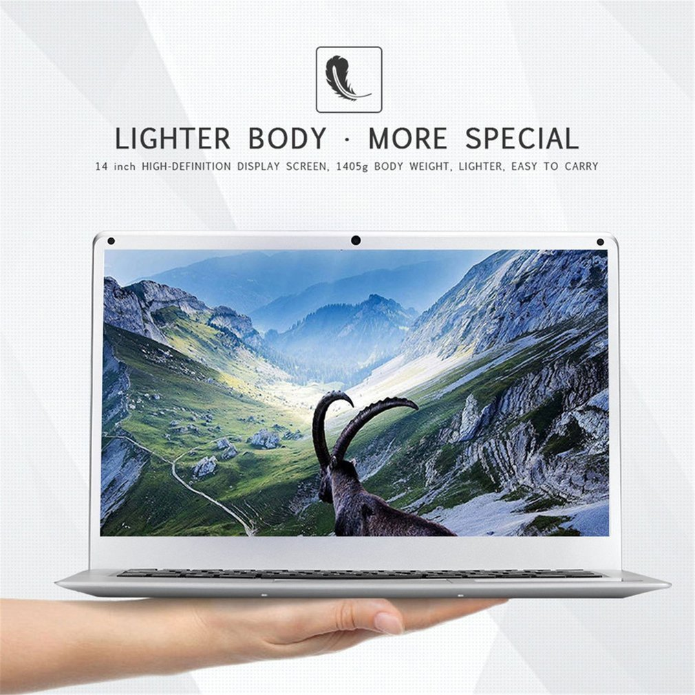 14 Inch Laptop Cheap Computer Windows 10 Redstone Pc Notebook 16:9 Ultra-Thin Portable Laptop WiFi Camera 10000mah Battery 1