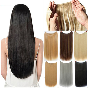 Soowee Long Straight Gray Black Blonde Synthetic Hair Extensions Fish Line Halo Invisible Hairpiece Hair Accessories