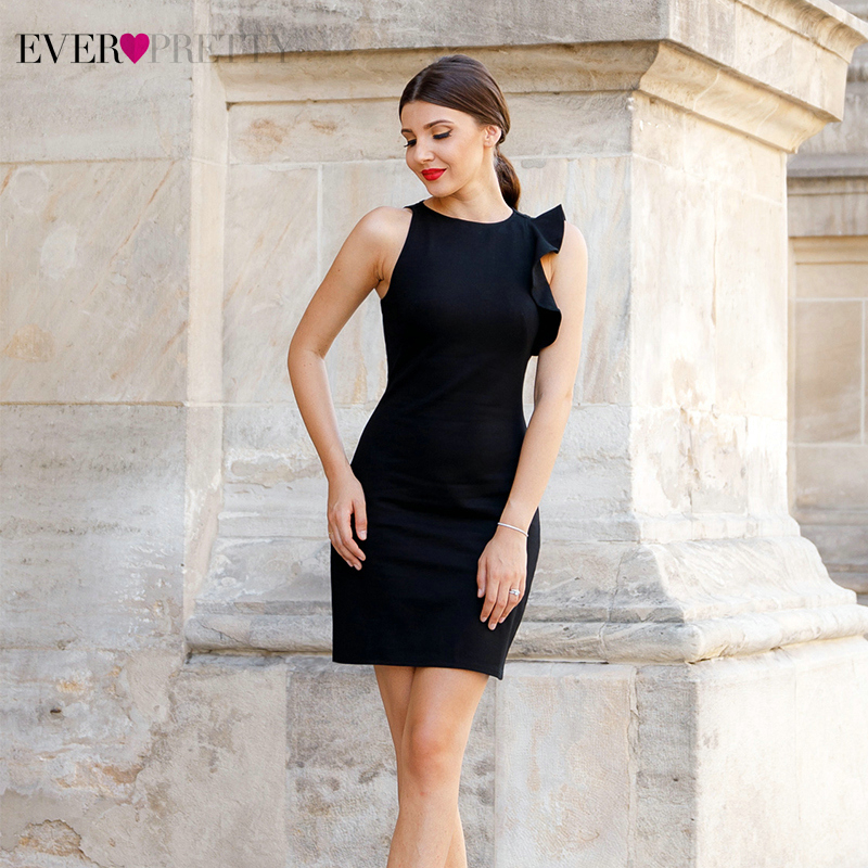 Sexy Black Cocktail Dresses Ever Pretty Sleeveless O-Neck Ruched Short Little Mermaid Dress Formal Party Gowns Vestido Coctel