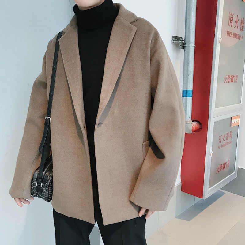 Модное мужское пальто, осенне-зимнее шерстяное мужское пальто, мужское Свободное пальто в Корейском стиле, утолщенное пальто, Лидер продаж