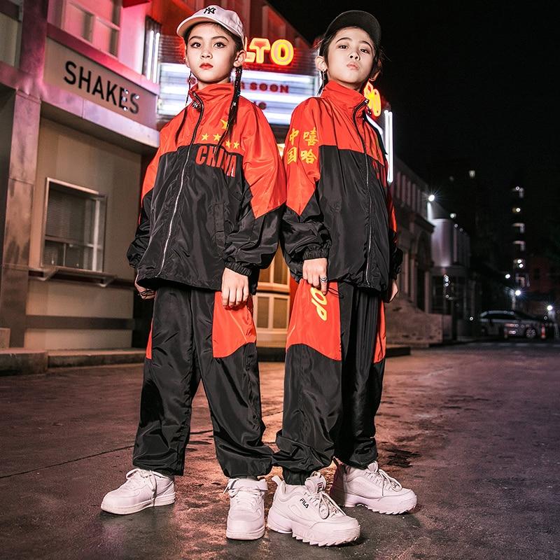 2019 Children'S Jazz Dance Costumes Boys Girls Hip-Hop Wear Chinese Style Jacket Pants Street Dance Performance Clothing DWY2562